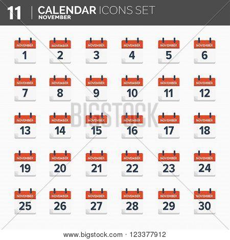 Vector illustration. Calendar icons set.  Date and time. November.