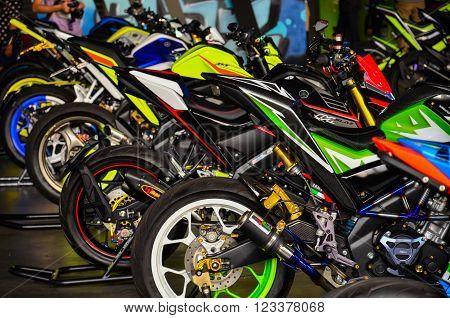 NONTHABURI - MARCH 26: Yamaha motorcycle on display at The 37th Bangkok International Thailand Motor Show 2016 on March 26, 2016 Nonthaburi, Thailand.