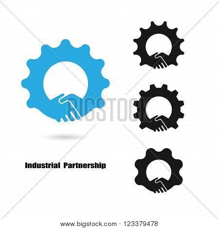 Creative handshake logo and industrial idea concept backgroundbusiness idea industrial signabstract background.vector illustration