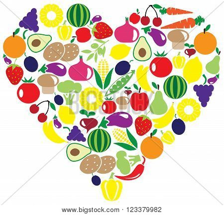vector illustration of a heart of fruits and vegetables