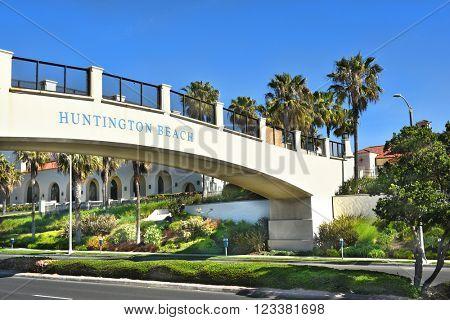 HUNTINGTON BEACH, CA - MARCH 25, 2015: Pedestrian Bridge. The bridge spans the Coast Highway from the Hyatt Regency to the Beach.