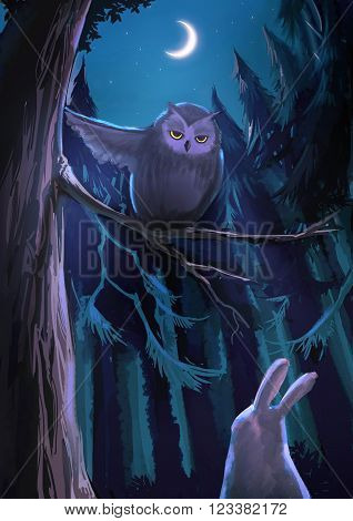Cartoon illustration of an owl on the tree is pointing direction to the white rabbit bunny in the night forest