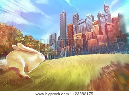Cartoon illustration of cute white rabbit bunny is running toward the human city buildings with speed