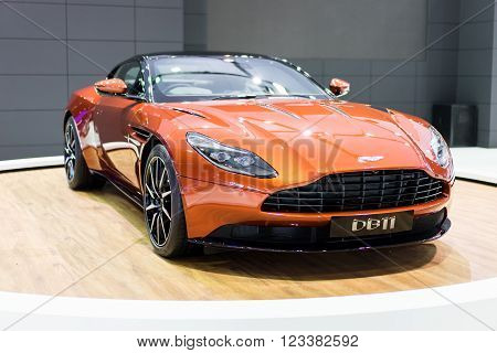 Aston Martin DB11 car at Bangkok Showroom on 24 March 2016. This a open event no need press credentials required.