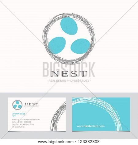 Nest with Bird Eggs. Business sign & Business card vector template for real estate agency, architecture bureau, home decor boutique, home insurance, building & renovation. Corporate web site element