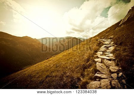 Mountains. Fantasy abstract nature landscape. Nature conceptual image.