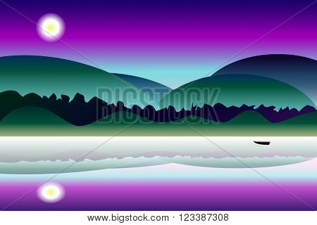 Idyllic mystery night landscape vector background, colorful illustration with the hills, lake and reflections, foggy night panorama with the boat