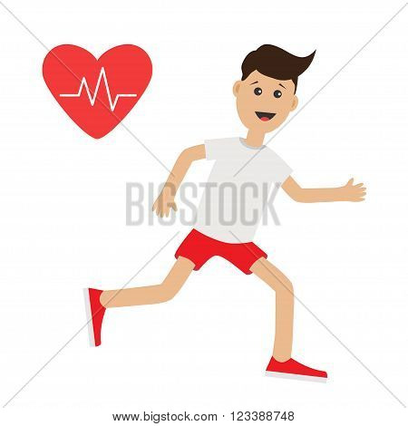 Funny cartoon running guy. Heart beat icon Cute run boy Jogging man Runner Fitness cardio workout Running male character Isolated White background. Flat design Vector illustration