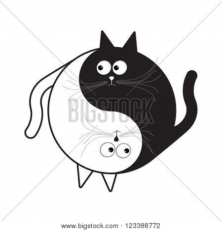 Yin Yang sign icon. White and black cute funny cartoon cat. Feng shui symbol. Isolated Flat design style. Vector illustration