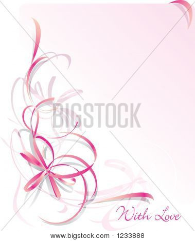 Abstract Bow Greeting Card - St Valentines Day. With Love.