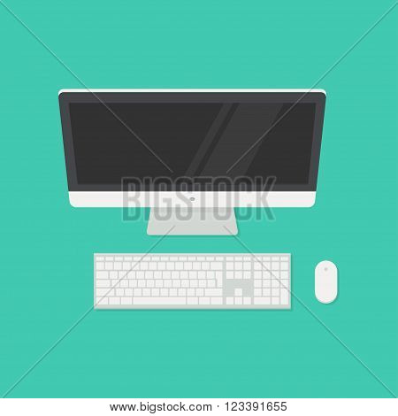 Computer top view. Desktop computer with keyboard and mouse. Computer monitor top view. Computer vector illustration. Computer screen top view. Computer in flat style. Compute top.