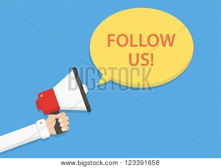 Follow us vector illustration. Follow us on social media banner. Loudspeaker in hand and speech bubble. Announcement invitation to follow us. Follow us concept. Follow us message for website.
