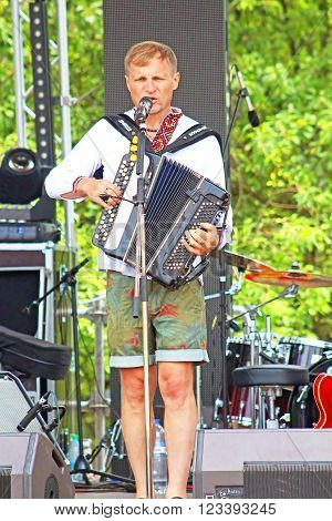 KYIV, UKRAINE - JUNE 21, 2015: Ukrainian Singer Oleg Skripka and Band