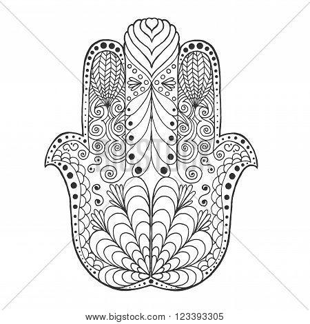 Zentangle stylized mandala. Black white hand drawn doodle. Ethnic patterned vector illustration. African, indian, totem tribal design. Sketch for coloring page, tattoo, poster, print, t-shirt