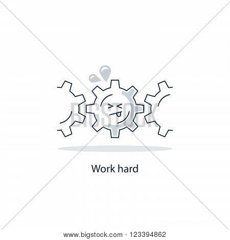 Hard work funny concept, linear design illustration