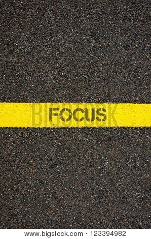 Road Marking Yellow Line With Word Focus