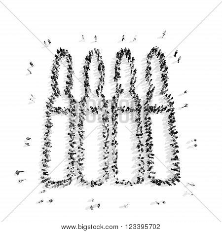 A group of people in the shape of ampoules, medicine, flashmob.3D illustration.black and white