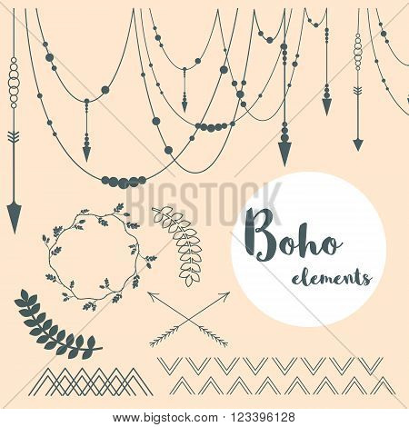 Set of Boho Style Elements - branches, arrows and ornaments. Vector hand drawing