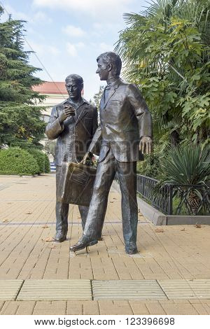 SOCHI, RUSSIA - November 06, 2015: A monument to actors from cinema - Papanov, Mironov from the movie the Diamond hand. The marina, Sochi, Russia is established