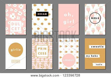 Creative girlie printable journaling cards. Lovely princess. Dulcet sweetie girl. Girlie print. Romantic cute poster. Minimal design for banner, flyer, wallpaper