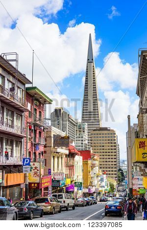 SAN FRANCISCO, CALIFORNIA: MARCH 6, 2016: Chinatown district of San Francisco towards the BayBridge.