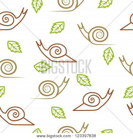 Snails seamless pattern. Stylized snails and leaves isolated on white.