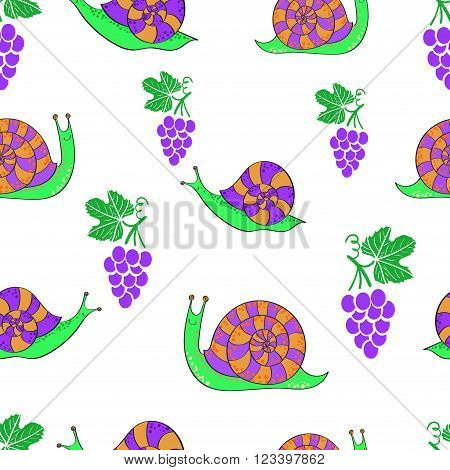 Seamless pattern with cute cartoon snails and grapes. Vector rpeating background.