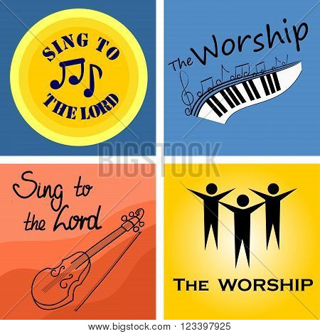 four color musical logo for the Church and worship