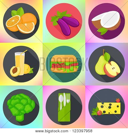 Set of various fruits, vegetables, fast food, cutlery. Tasty meal icons collection.