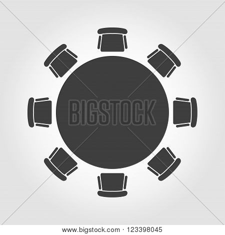 Vector round table icon on grey background