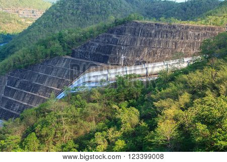 Summer mountain canyon and dam(Srinakarin dam From Kanchanaburi)