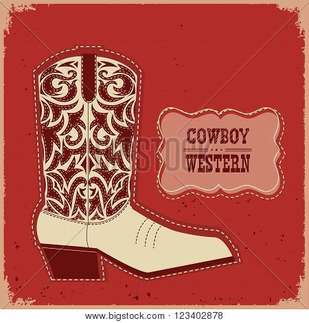 Cowboy Boot Card Background.vector  Western Illustration With Text