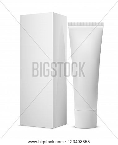 White dentifrice toothpaste cream with box package blank tube poster