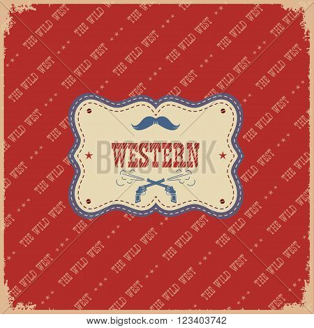 Western Label Background.vector Wild West Illustration With Text