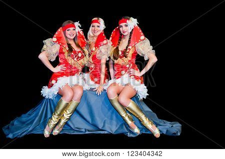 Three Young Beautiful Women In Dresses