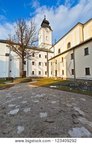 Yard of a monastery in medieval town of Levoca in eastern Slovakia.