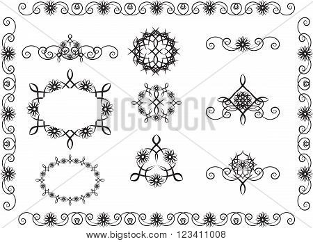 loops pattern with flower motives and the stylized flowers