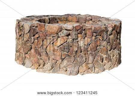Traditional Ancient Stone Well On White.