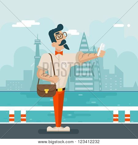 Wealthy Cartoon Hipster Geek Mobile Phone Selfie Businessman Character Icon Stylish City Background Flat Design Vector Illustration poster