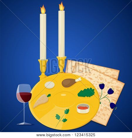Vector illustration of passover seder plate with matzoh and wine on blue background.