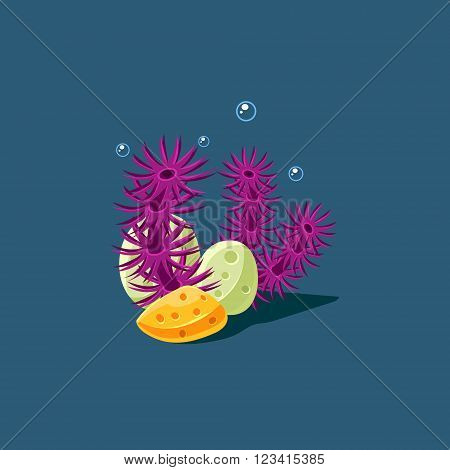 Coral And Polyp Cute Cartoon Style Vector Illustration On Dark Blue Background