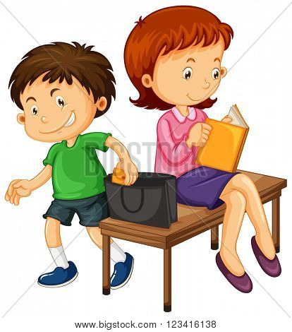 Little boy pickpocketting from girl's bag illustration