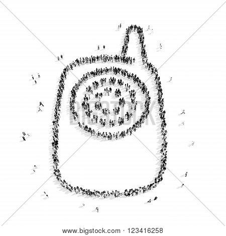 A group of people in the shape of baby monitor, child , flashmob.3D illustration.black and white