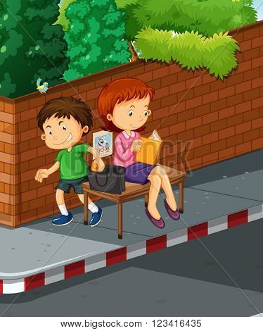 Boy stealing from woman purse illustration