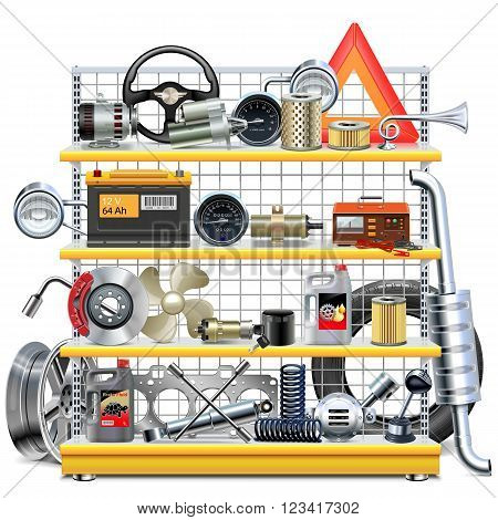 Vector Supermarket Shelves with Car Spares isolated on white background poster