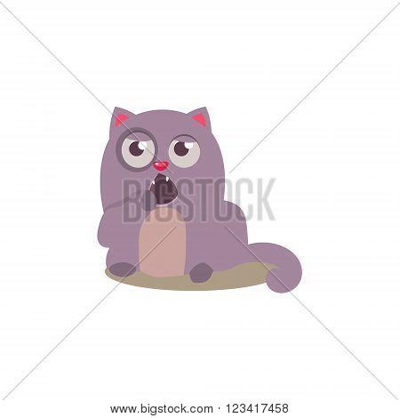 Sleepy Cat Yawning Adorable Emoji Flat Vector Caroon Style Isolated Icon