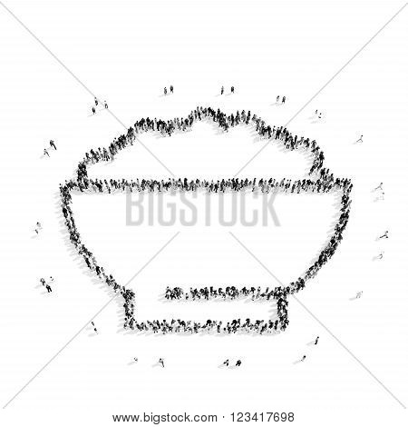 A group of people in the shape of a cup of porridge, a flash mob.3D illustration.black and white