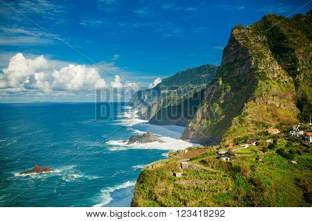 beautiful view of rocky cliffs and ocean on the northern coast of Madeira near Boaventura Portugal