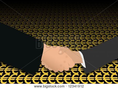 business handshake on euro symbols illustration
