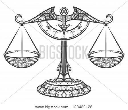 Zodiac sign of Libra drawn in zentangle style. Line libra icon. Vector illustration